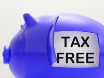 Tax Free Piggy Bank Means No Taxation Zone Royalty Free Stock Photo