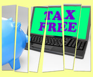 Tax Free Piggy Bank Shows Goods In No Tax Zone Royalty Free Stock Photo