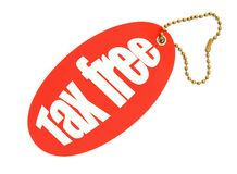 Tax free price tag. Against white background, there is no infringement of trademark copyright royalty free stock images