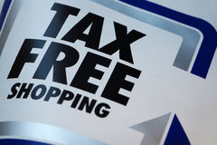 Tax free shopping. Flag on street shop Royalty Free Stock Photo