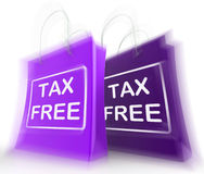 Tax Free Shopping Bag Represents Duty Exempt Discounts. Tax Free Shopping Bags Showing  Duty Exempt Discounts Stock Photography