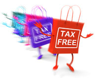 Tax Free Shopping Bags Represent Duty Exempt Discounts Stock Photography