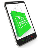 Tax Free Shopping Phone Shows No Duty Taxation Royalty Free Stock Photo