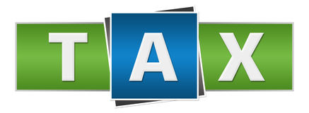 Tax Green Blue Horizontal. Tax text alphabets written over green blue background Stock Image