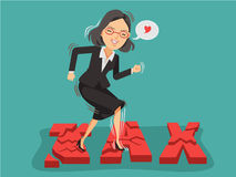 Tax. Happy business woman stepped on the broken tax font. Tax rate reduction ideas. Vector illustration isolated on blue background Royalty Free Stock Photography