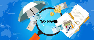 Tax haven country finance business illustration money protection. Vector Stock Image