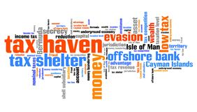 Tax haven. Finance issues and concepts tag cloud illustration. Word cloud collage concept Royalty Free Stock Image