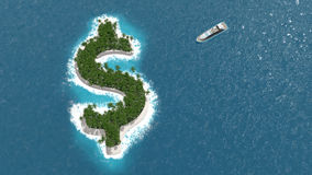 Tax haven, financial or wealth evasion on a dollar island. A luxury boat is sailing to the island. Tax haven, financial or wealth evasion on a dollar shaped Royalty Free Stock Image
