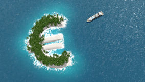 Tax haven, financial or wealth evasion on a euro island. A luxury boat is sailing to the island. Tax haven, financial or wealth evasion on a euro shaped island Stock Photography