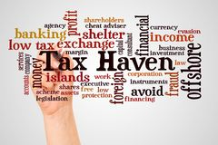 Tax Haven word cloud and hand with marker concept. On gradient background royalty free stock images
