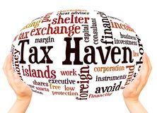 Tax Haven word cloud hand sphere concept. On white background royalty free stock image
