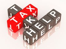 Tax help. Take tax help words in a crossword on reflective surface stock illustration