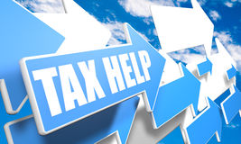Tax Help. 3d render concept with blue and white arrows flying in a blue sky with clouds Royalty Free Stock Photo