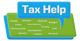 Tax Help Green Blue Word Cloud Comment Symbol. Tax help text with related word cloud over blue background Royalty Free Stock Photo
