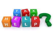 Tax help sign. Colorful letter blocks spelling words tax help with a question mark; financial concept on a white background Royalty Free Stock Photos