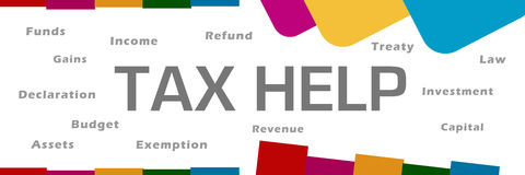 Tax Help Word Cloud Abstract Colorful Background. Tax help text with related word cloud over colorful background Stock Images