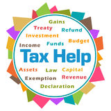 Tax Help Word Cloud Colorful Abstract Circular. Tax help text with related word cloud over colorful background Stock Photography
