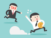 TAX hunting grab businessman with money. Flat design business financial marketing concept cartoon illustration Stock Photos
