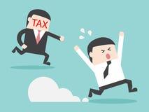 TAX hunting grabbing businessman money. Flat design business financial marketing concept cartoon illustration Royalty Free Stock Photography