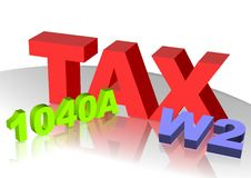 Tax icon. 3D text of Tax W2 and 1040A Stock Photography