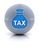 Tax icon on globe formed by dollar sign Stock Image