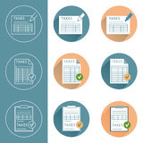 Tax icon set. In different stiles - flat, outline Stock Photo