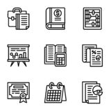Tax icon set, outline style royalty free illustration