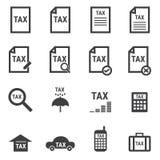 Tax icon set, flat design vector illlustion eps10. Tax icon set on white background, flat design vector illlustion eps10 Stock Photos