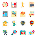 Tax icons in flat style. Vector set. Tax icons in flat style set. Money count, taxation finance, accounting and payment, vector illustration Royalty Free Stock Photo