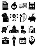 Tax icons set Stock Photos