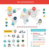 Tax Infographics Set. Tax paying and finance infographics set with world map vector illustration Stock Images