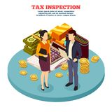 Tax Inspection Isometric Composition. With man and woman figurines and business icons vector illustration Stock Photo