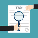 Tax inspector concept illustrations with hand, flat style Stock Image