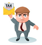 Tax inspector holding tax letter. Cartoon styled vector illustration. No transparent objects.  on white Royalty Free Stock Photos