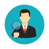 Tax inspector icon flat style. Vector illustration Royalty Free Stock Images
