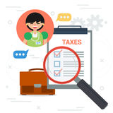 Tax inspector with magnifier and check list Stock Photos