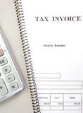 Tax invoice form Stock Image