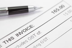 Tax invoice form Stock Photography