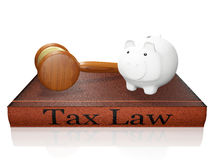 Tax Law Book Piggy Bank and Judge Gavel. A 3D illustration of a savings piggy bank lying on a taxation law hardbound book and a judge's gavel or mallet placed Stock Images