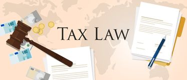 Tax law gavel hammer with money and paper international court of financial dispute. Revenue income financial verdict penalty vector Stock Photos