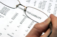 Tax Liability with Glasses Royalty Free Stock Photography