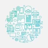 Tax linear blue round illustration. Vector bright tax calculation creative symbol Stock Image