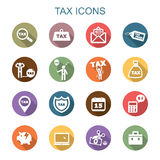Tax long shadow icons. Flat vector symbols Stock Photos