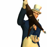 Tax Man Cometh 1. Government represented by Uncle Sam shaking a businessman free of his money in order to collect taxes Royalty Free Stock Photo