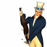 Tax Man Cometh 2. Government represented by Uncle Sam shaking a businessman free of his money in order to collect taxes Royalty Free Stock Photos