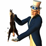 Tax Man Cometh 3. Government represented by Uncle Sam shaking a businessman free of his money in order to collect taxes Stock Photo