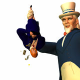 Tax Man Cometh 4. Government represented by Uncle Sam shaking a businesswoman free of her money in order to collect taxes Royalty Free Stock Photography