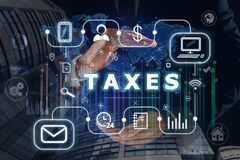 Free Tax. Man Demonstrating Scheme With Icons Stock Photos - 191706353