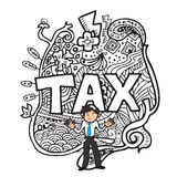 Tax and man doodle Stock Photography