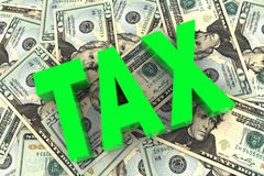 Tax on Money Background Royalty Free Stock Images